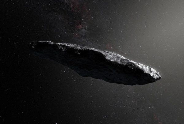This artist's impression shows the first interstellar asteroid, `Oumuamua. Observations from ESO's Very Large Telescope in Chile and other observatories around the world show that this unique object was travelling through space for millions of years before its chance encounter with our star system. It seems to be a dark red highly-elongated metallic or rocky object, about 400 metres long, and is unlike anything normally found in the Solar System.